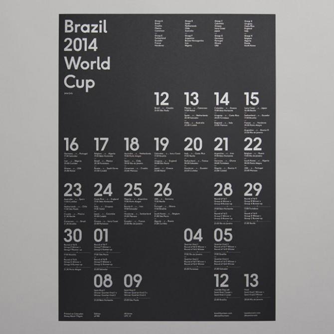 Brazil 2014 World Cup wallchart – Designed by Karoshi